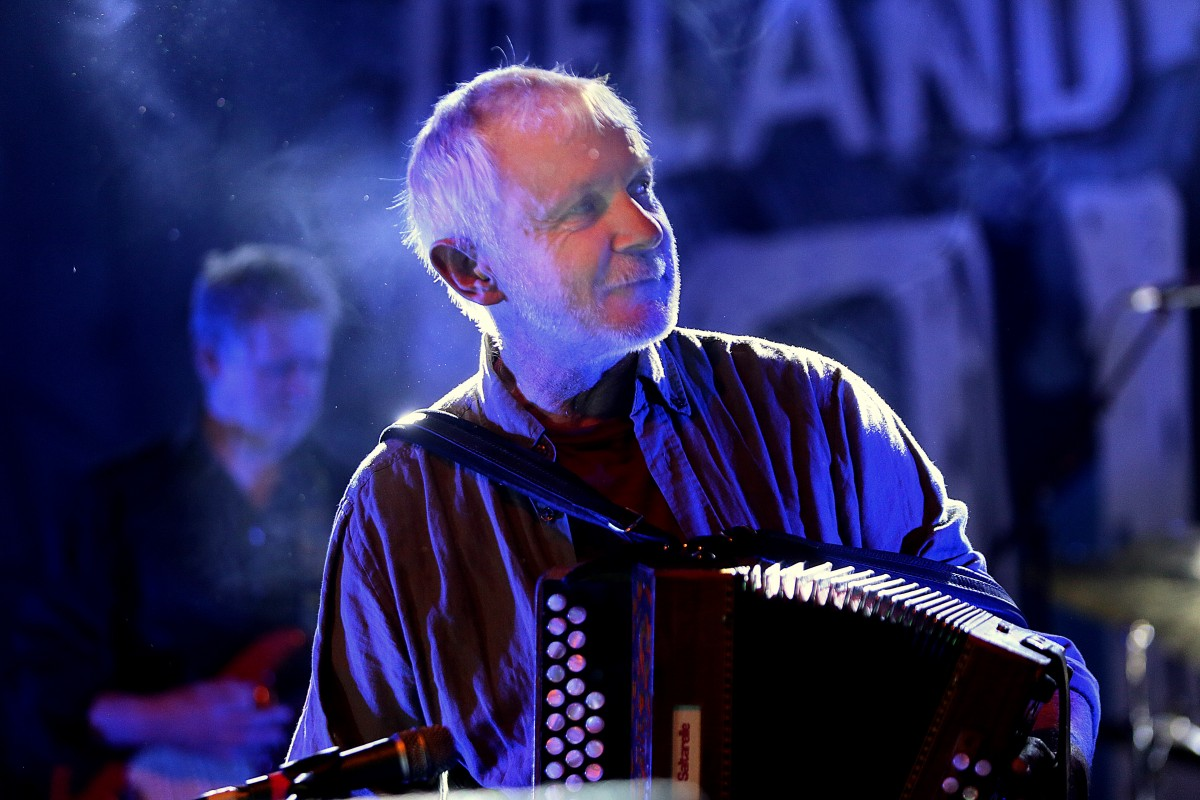 Martín O'Connor, performing with Moving Hearts at Folkfest Killarney at the INEC Killarney