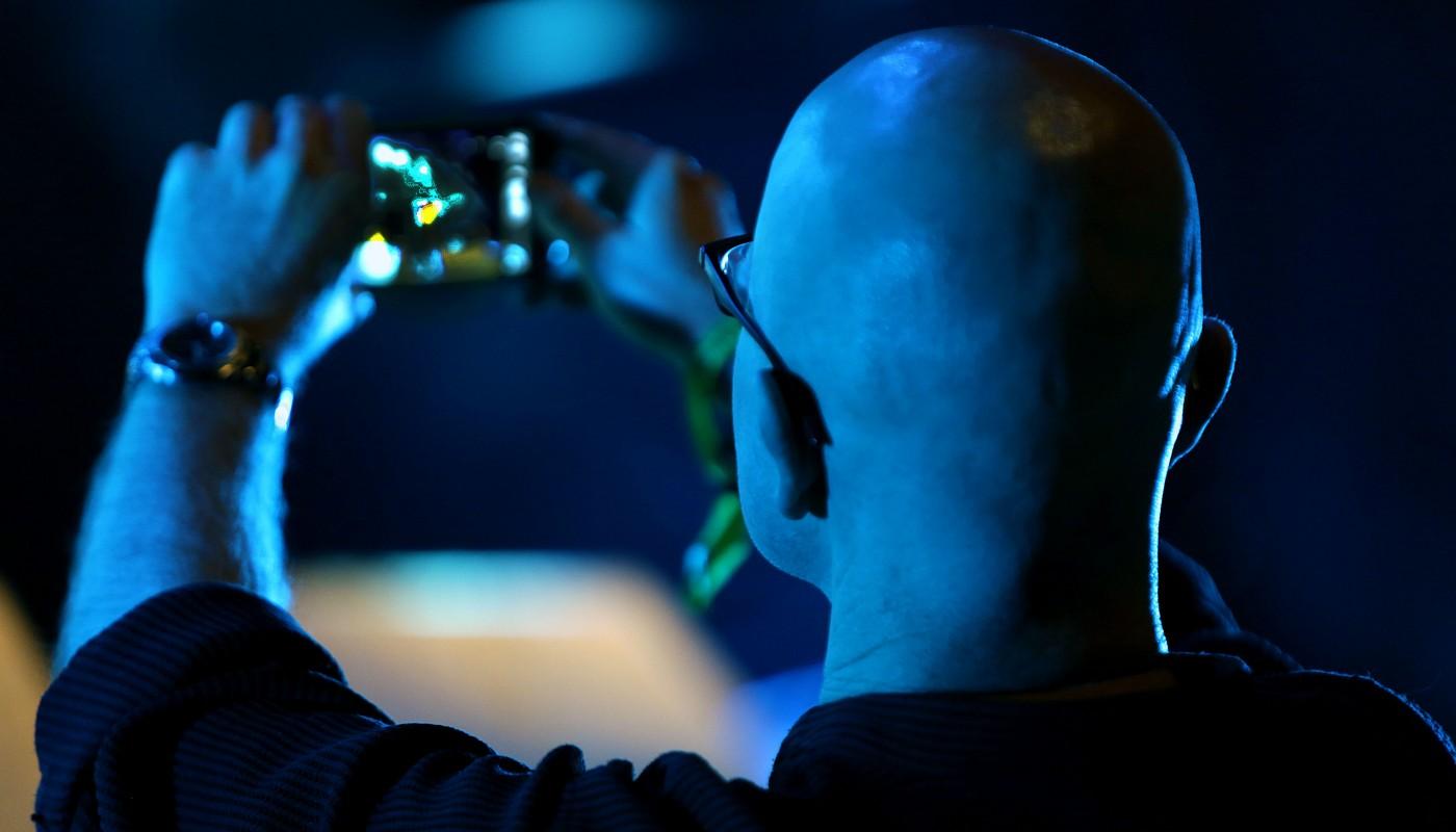a fan capturing Luka Bloom performing at the Folkfest Killarney