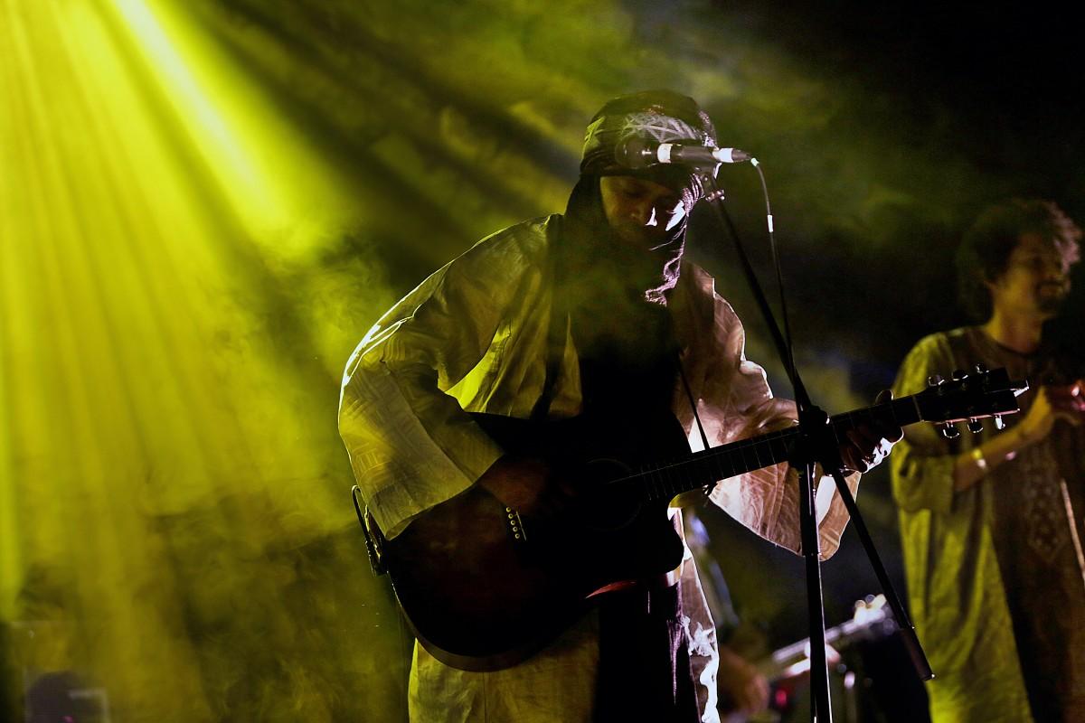 Members of Tinariwen, grammy award winning musicians from the Sahara Desert region of northern Mali, performing at The Ireland Folkfest, Killarney at the INEC Killarney