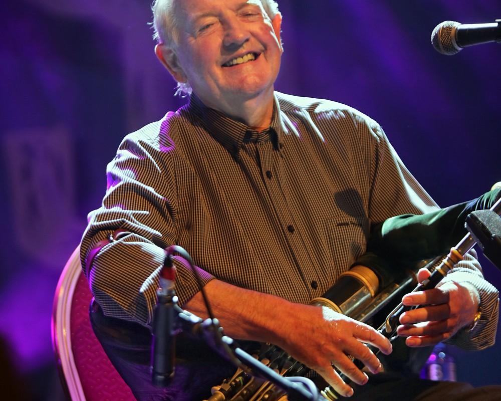 Renouned Uilleann Piper Liam O'Flynn performing with Mícheál Ó'Súilleabháin, Paddy Glackin and Neil Martin at the Ireland Folkfest Killarney at the INEC Killarney