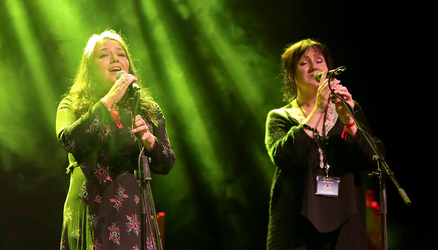 Pauline Scanlon and Éilís Kennedy of Lumiere performing at Ireland Folkfest, Killarney at the INEC Killarney
