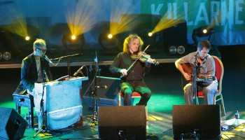 Iarla Ó Lionáird, who performed with Fiddle player Martin Hayes and Guitarist Jim Murray, at the Ireland Folkfest Killarney at the INEC Killarney