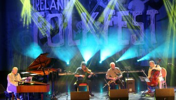 Renouned Uilleann Piper Liam O'Flynn performing with Mícheál Ó'Súilleabháin, Paddy Glackin and Neil Martin at the Ireland Folkfest Killarney at the INEC Killarney