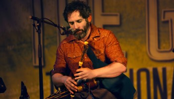 Uileann Piper, Brendan McCreanor, performing at The Gathering, Annual Traditional Festival, a mix of live concerts, set dance classes, instrument workshops and lectures at The Gleneagle Hotel, Killarney