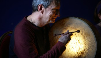 The Beat of the Bodhrán..Kevin Tarrant, Killarney, enjoying the Bodhrán Workshop by Johnny 'Ringo' McDonagh, at The Gathering, Annual Traditional Festival, a mix of live concerts, set dance classes, instrument workshops and lectures at The Gleneagle Hotel, Killarney