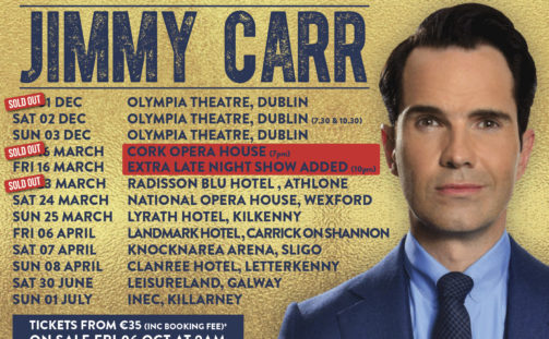 One of the most prolific joke-tellers of recent times, Jimmy Carr brings his brand new show 'The Best Of, Ultimate, Gold, Greatest Hits Tour' to the INEC Killarney on July 1st 2018